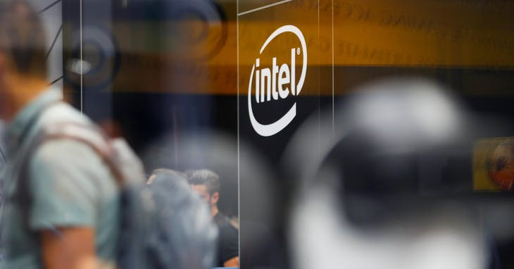The_Intel_logo_is_shown_at_E3,_the_world